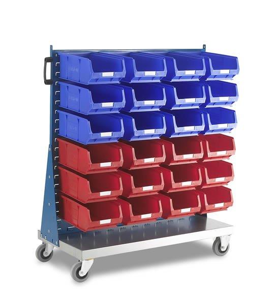 Panneaux d'accrochage sur chariot simple face avec kit bacs