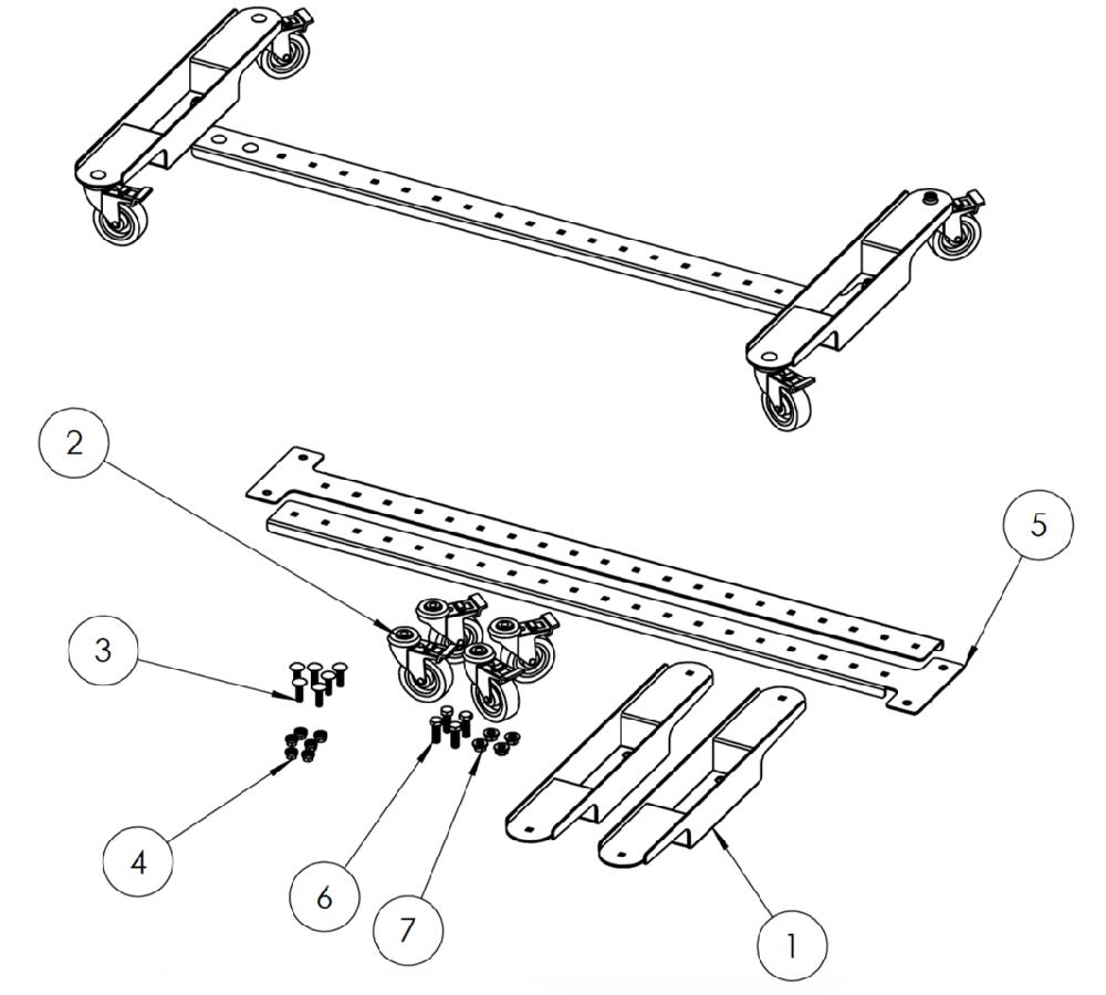 Plateforme sur roulettes pour panneaux X-Guard